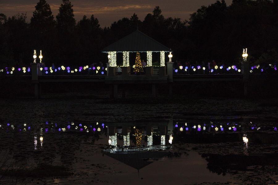christmas lights reflecting on bridge